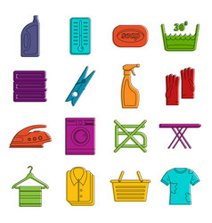laundry icons doodle set vector image vector image