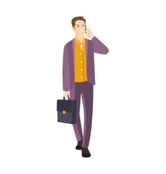 Man in suit with suitcase speaking on the phone vector