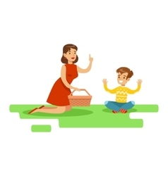 Mom and son having picnic happy family having vector