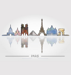 paris skyline detailed silhouette vector image vector image