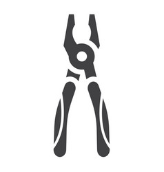 pliers glyph icon build and repair tool sign vector image vector image