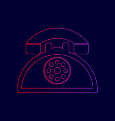 Retro telephone sign line icon with vector
