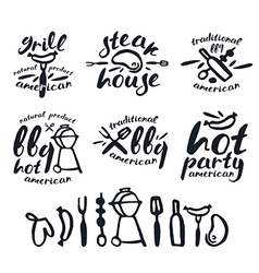 Set of barbecue labels badges and design elements vector image vector image