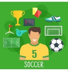 Soccer or football game sporting icon flat style vector image vector image