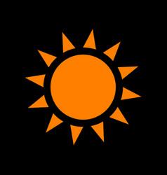 sun sign orange icon on black vector image
