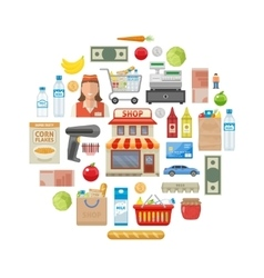 Supermarket Round Composition vector image
