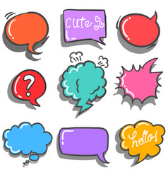Text balloon colorful style doodles vector