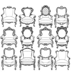 Vintage baroque luxury style armchairs furniture vector