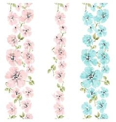 Watercolor flowers seamless pattern floral brushes vector image