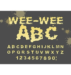 Wee-wee abc yellow liquid font piss typography vector