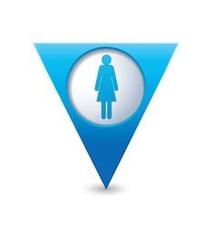 woman icon map pointer blue vector image vector image