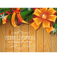 Christmas tree branches bow and ribbons vector