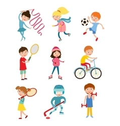 Young kids sportsmens isolated on white vector image