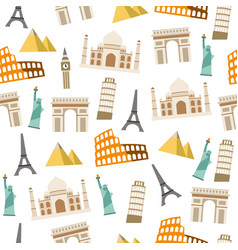 World landmark seamless pattern on white vector