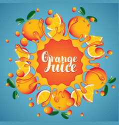 Banner orange juice orange slices and splashes vector