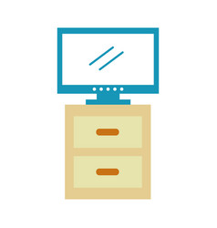 Nightstand with tv plasma isolated icon vector