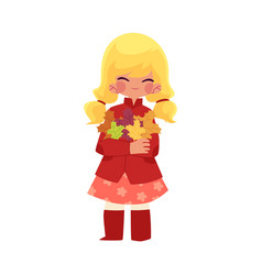 Girl keeps leaves in hands isolated vector