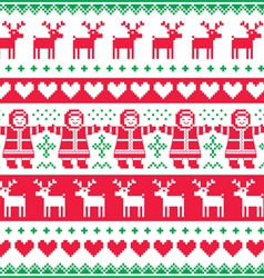 Winter Christmas red and green seamless pattern vector image