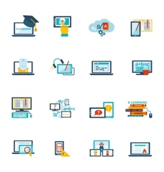 E-learning icon flat vector