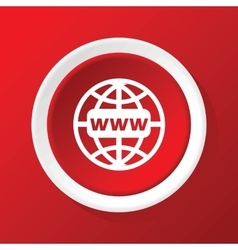 Global network icon on red vector