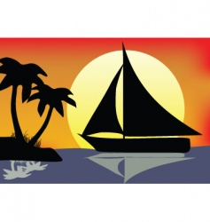silhouette boat vector image