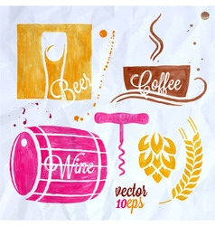 food and drink watercolor set beer wine coffee vector image