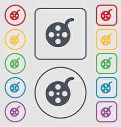 Film icon sign symbol on the round and square vector