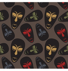Seamless pattern with african masks vector image