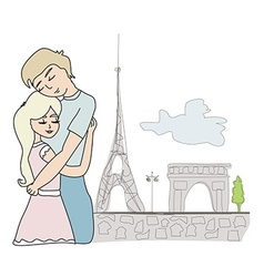 Lovers in paris vector