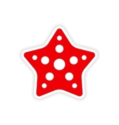 Icon sticker realistic design on paper star fish vector