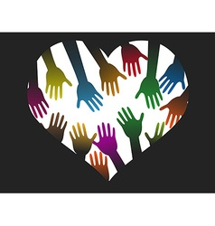 Diversity color hands of heart vector
