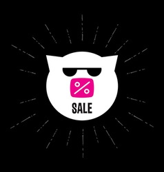 Pig in sunglasses with inscription sale or d vector