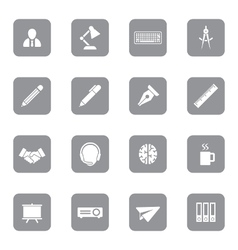 Gray flat icon set 8 on rounded rectangle vector