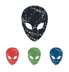 Alien grunge icon set vector
