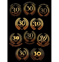 Anniversary golden laurel and olive wreaths icons vector