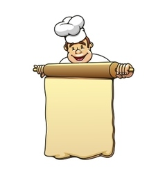 Baker with rolling pin and dough vector image