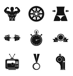 boxing icons set simple style vector image