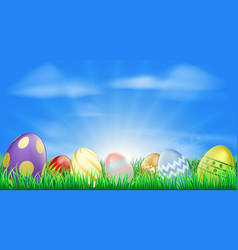 bright easter eggs background vector image vector image