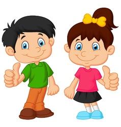 Cartoon boy and girl giving thumb up vector image vector image