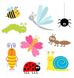 cartoon insect set Ladybug dragonfly butterfly vector image