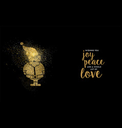 christmas gold glitter santa claus holiday card vector image vector image