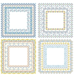 Collection of pattern frames with brushes vector image