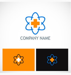 cross medic technology logo vector image vector image
