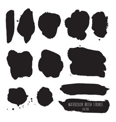 Dark black grunge watercolor ink texture set vector