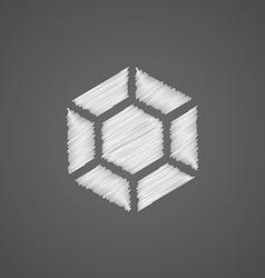 Diamond sketch logo doodle icon vector