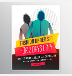 Fashion sale banner design with cloths and offer vector