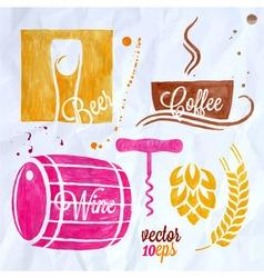 food and drink watercolor set beer wine coffee vector image vector image