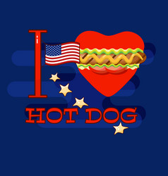 i love hot dog card poster for fast food s vector image