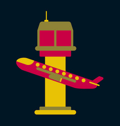 Icon in flat design for airport plane takes off vector