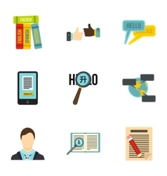 Language learning icons set flat style vector image vector image